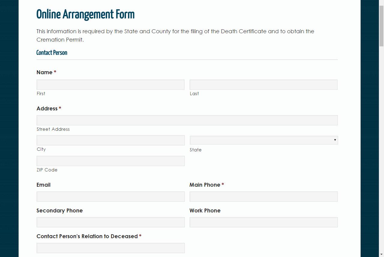 Online Arrangement Form