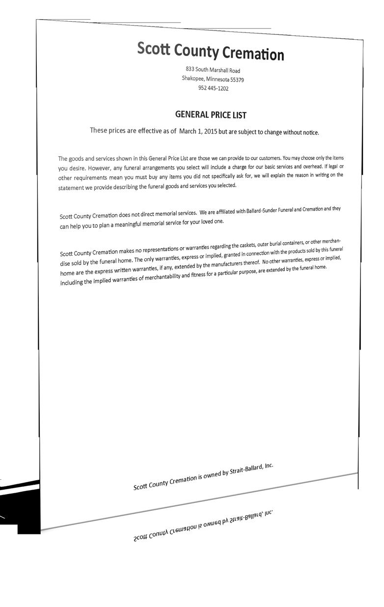 Scott County Cremation - General Price List